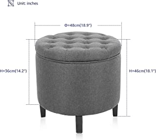 KERMS Collapsible Round Storage Ottoman Foot Stool Comfortable Seat with Wooden Feet and Lid, Soft Padding, Memory Foam,Soft and Convenience (Grey)