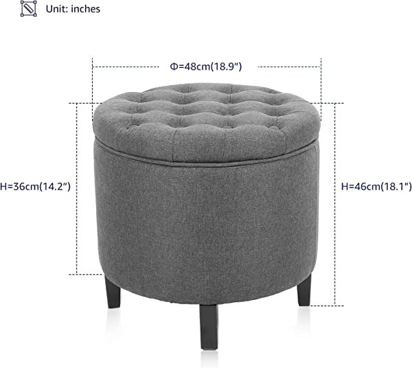 KERMS Collapsible Round Storage Ottoman Foot Stool Comfortable Seat With Wooden Feet And Lid Soft Padding Memory Foam Soft And Convenience Grey