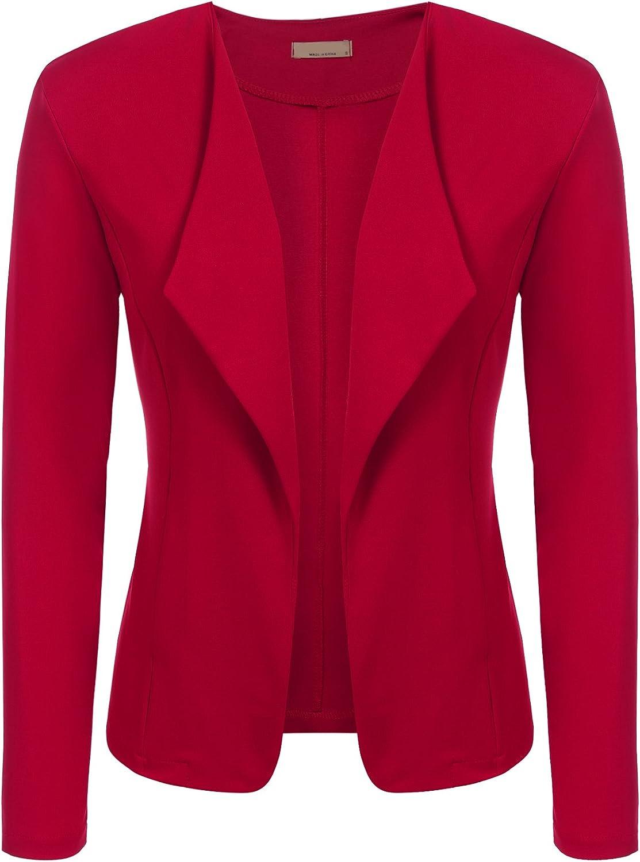 EASTHER Women's Long Sleeve Slim Fit Open Blazer Work Office Draped Blazer Jacket
