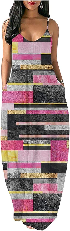 Women Summer Halter Bohemian Style Color Block Long Maxi Dress Beach Casual Daily Dresses