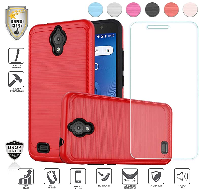 Compatible for At&t Axia QS5509a Case, Cricket Vision Case, with Tempered Glass Screen Protector, Premium Tough Armor Shield Metallic Brushed Design Hybird [Shockproof] (Red)
