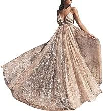 Women's Sparkling Deep V-Neck Prom Dresses Long Backless Tulle Formal Evening Gown