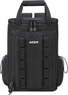 MIER Insulated Cooler Backpack for Men and Women Leakproof Cooler Tote for Lunch,  Picnic,  Hiking,  Camping,  Beach,  Park,  Road Trips,  20 Can,  Black