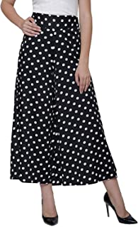 Fraulein Women's/Girls Palazzos Blue Polka Floral Printed Soft Crepe Flared Bottom Palazzos with One Pocket and Mesh Inner...