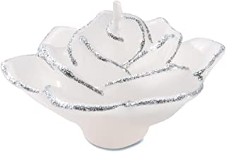 Darice UN67822 Rose Shaped Floating Candle, Small, White & Silver