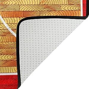 Use7 Alfombra de Baloncesto de Madera Dura, Alfombrilla Antideslizante para Sala de Estar Infantil o Dormitorio, Tela, 100 x 150 cm(3' x 5' ft)
