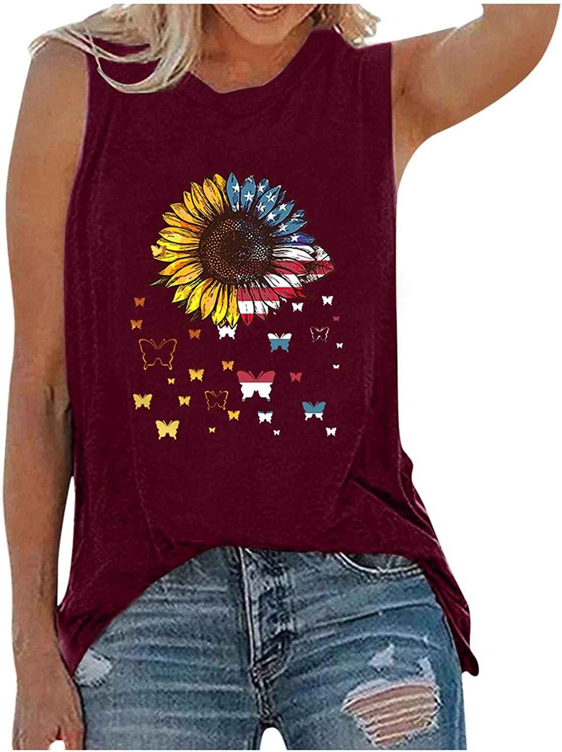 Summer Tank Tops for Women,Women's Sunflower Cute Printed Tank Tops Colorful Sleeveless T-Shirt Funny Graphic Tee Tops