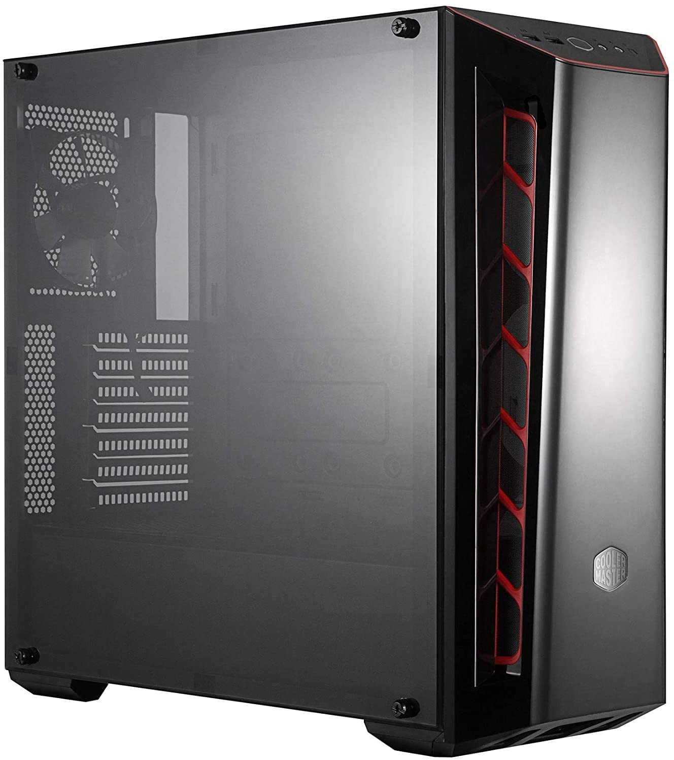 Cooler Master MasterBox MB520 Caja PC ATX Panel Frontal Tintado, Entradas de Aire, Panel Lateral Transparente, Configuraciones Flujo de Aire Flexible, Ingestas en Rojo