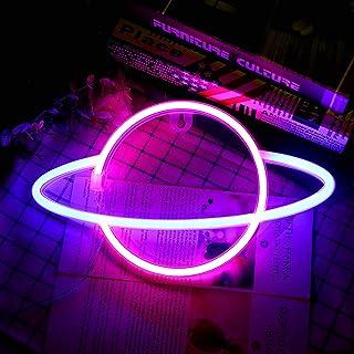Porcyco Neon Sign, Wasserdicht Planet Neon Light, Batterie oder USB Powered Led Neon Licht Planet Light Deko für Schlafzim...