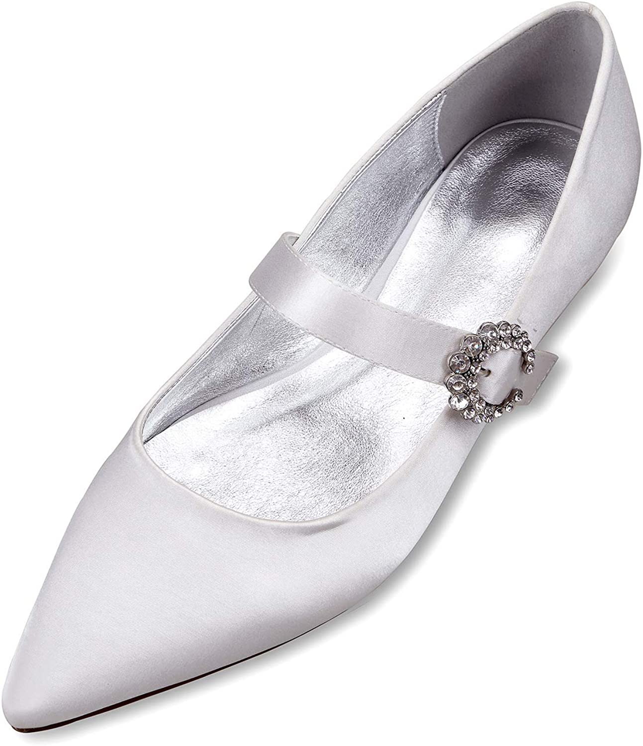 LLBubble Women Comfort Flat Satin Wedding Bride shoes Pointed Toe Strap Formal Party Dress Pumps 5047-10