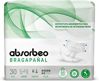Absorbeo - Bragapañal Plus - Dispositivos Absorbentes para Incontinencia de Intensidad Media, Unisex, Talla L (30 piezas por paquete)