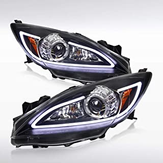 Autozensation For Mazda 3 GS GT GX JDM Black LED Strip Projector Headlights Pair