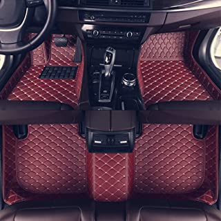 8X-SPEED Custom Car Floor Mats Fit for Audi A7 2012-2018 Full Coverage All Weather Protection Waterproof Non-Slip Leather Liner Set Red Wine
