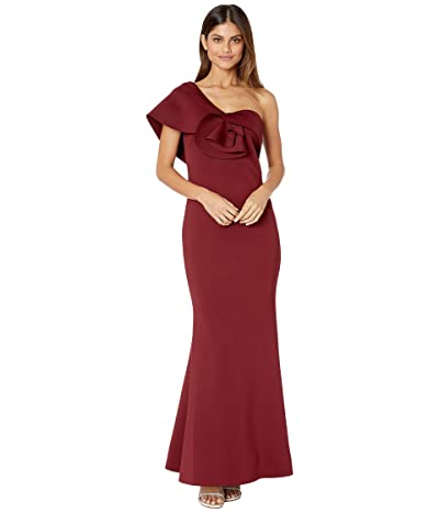 Badgley Mischka Asymmetrical Floral Sculpture Gown (Burgundy) Women