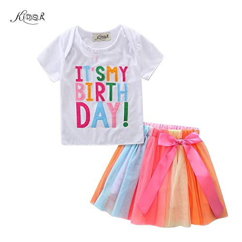 19d8f9b25f6c KIDSA 1-7T Baby Toddler Little Girls Birthday Outfits T-Shirt Tops +  Colorful