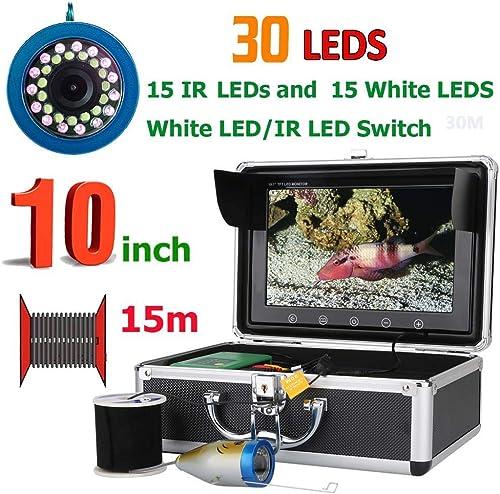 HONGSHENG 10 Pouces 15M 1000TVL Fish Finder caméra de pêche sous-Marine 15pcs LED Blanche + 15pcs Lampe Infrarouge pour la pêche Kit