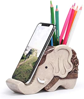 Mokani Pen Pencil Holder with Cell Phone Stand, Multifunctional Elephant Shaped Desk Organizer Desk Decor Elephant Gifts f...