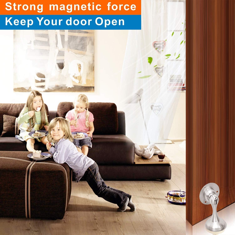 Screws for Stronger Mount Door Stops for Floor Hold Your Door Open Door Stopper Magnetic Door Stop Brushed Nickel Door Stops with 3M Double Sided Adhesive Tape for No Drilling