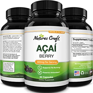 Natures Craft Acai Berry Antioxidant Support Weight Loss Supplement for Women and Men - Vitamins Minerals Antioxidant Form...