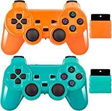 Wireless Controller 2.4G Compatible with Sony Playstation 2 PS2 (Orange+Green)