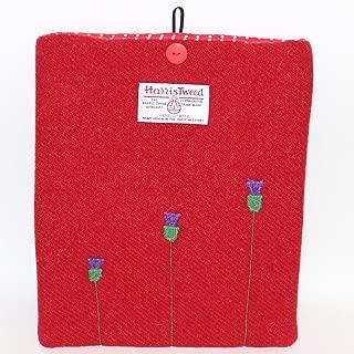 Loobie & Boo Designer Thistle Red Harris Tweed iPad Tablet Cover