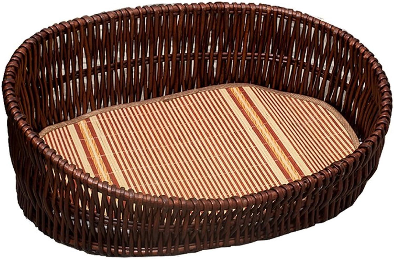 DEI QI Bamboo Rattan Woven Pet Dog Kennel Summer, Four Seasons Universal Teddy Bed Cat Litter, Medium, Large, Dark Brown Dog Bed