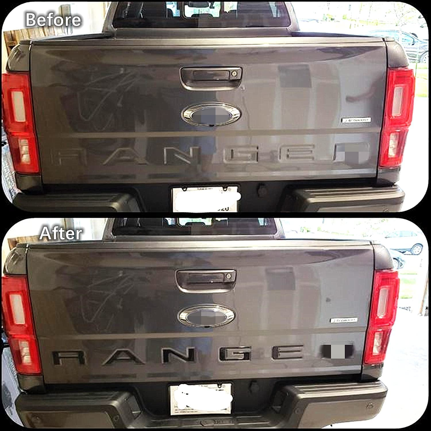 Tailgate Inserts Letters Compatible for Ranger 2019 2020 2021 Accessories Rear Inlays Emblem Decals (Matte Black)