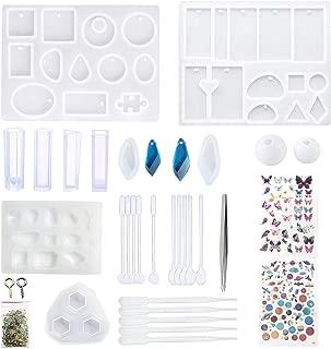 Allazone 25 Pz Molde Silicona Resina, 12 Pz Silicona Moldes de Joyería, 5 Tipos de Herramientas de Fabricación y 2 Pz Material de Relleno para Hacer Artesanía de Joyería de Bricolaje