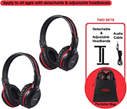 SIMOLIO 2 Pack of Wireless Car Headphones, 2 Channel IR Wireless Headphones for Kids, in..