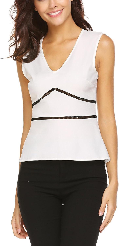 Grabsa Women Sleeveless V Neck Tank Top Slim Fit Peplum Blouse Shirt