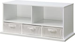 Stackable 5 Shelf Storage Organizing Cubby with 3 Fabric Baskets