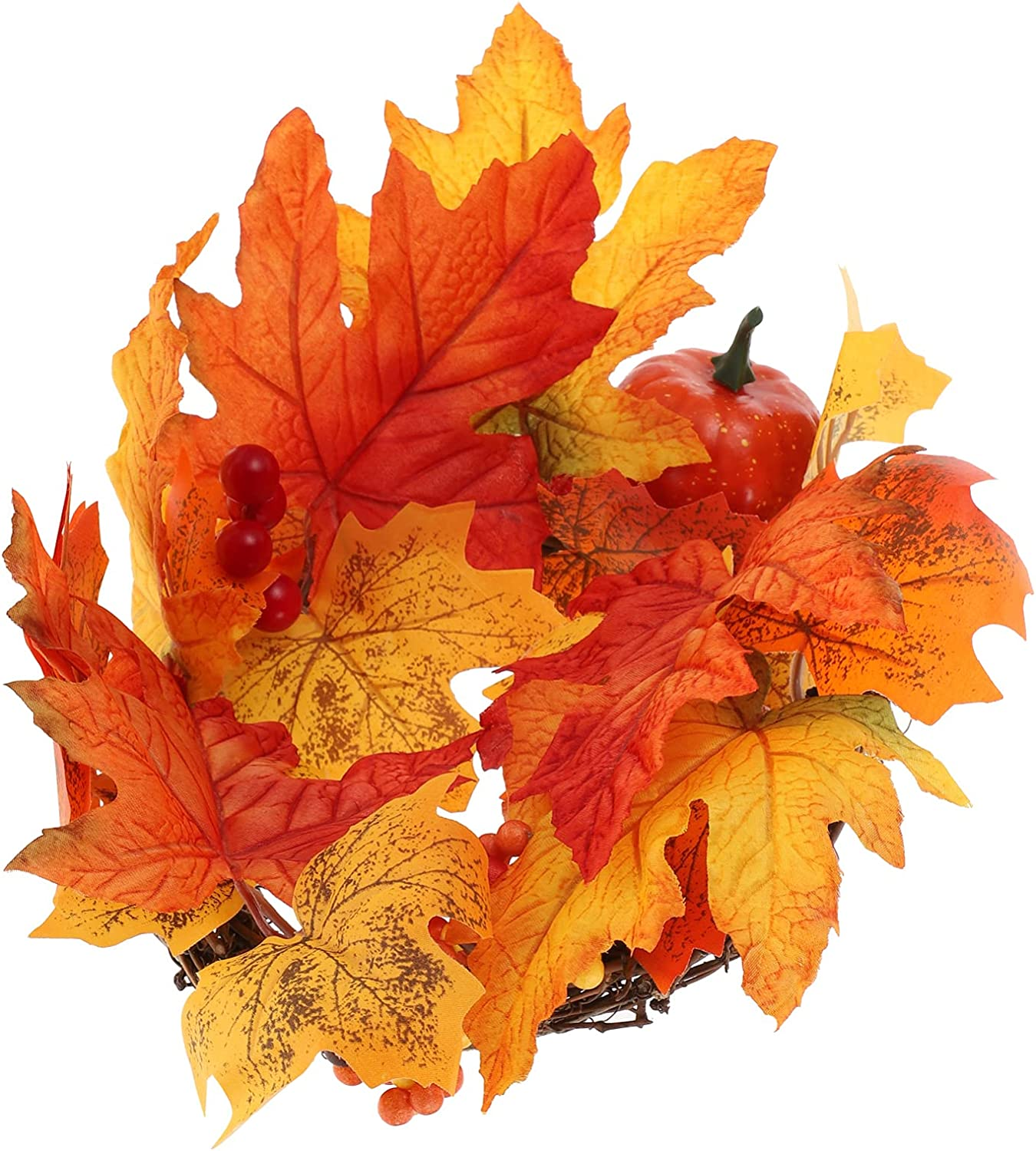 ULTNICE Fall Wreath Pumpkins Large-scale sale Berries Outstanding Artificial Maple Leaves Wre