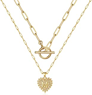 Layered Gold Initial Necklaces for Women, 14K Gold Plated Dainty Layering Paperclip Toggle Choker Chain Necklace Personali...