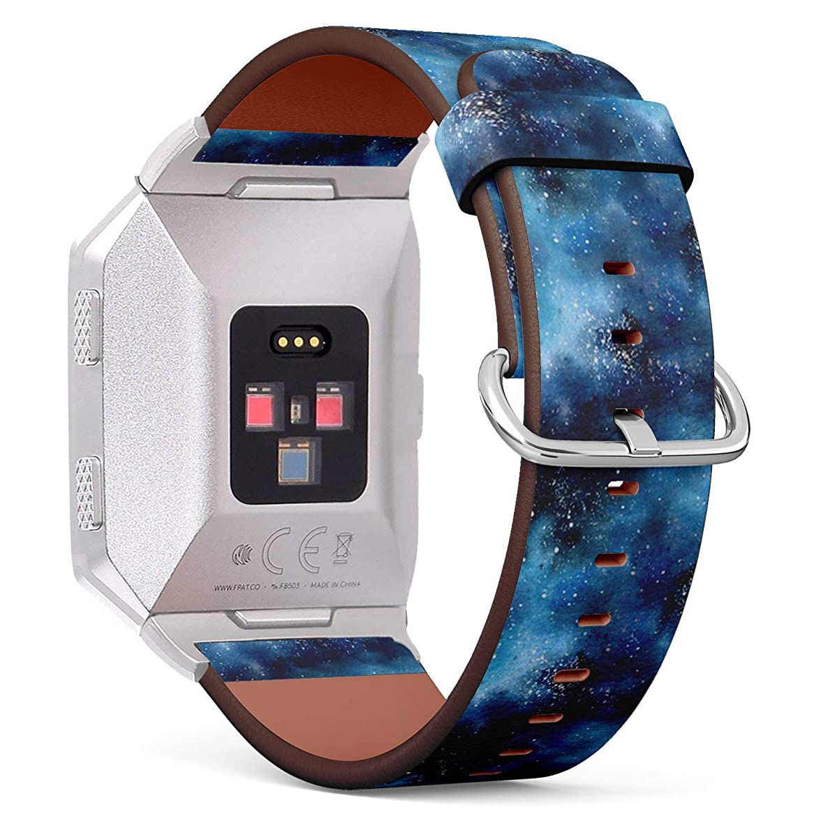 Compatible with Fitbit Ionic Leather Watch Wrist Band Strap Bracelet with Stainless Steel Clasp and Adapters (Watercolor Space)