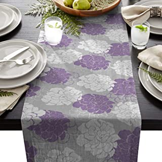 Chic D 13x70inch Table Runner, Elegant Peony Floral Lavender Purple Cotton Linen Table Setting Decor for Wedding Party Holiday Dinner Home, Machine Washable.