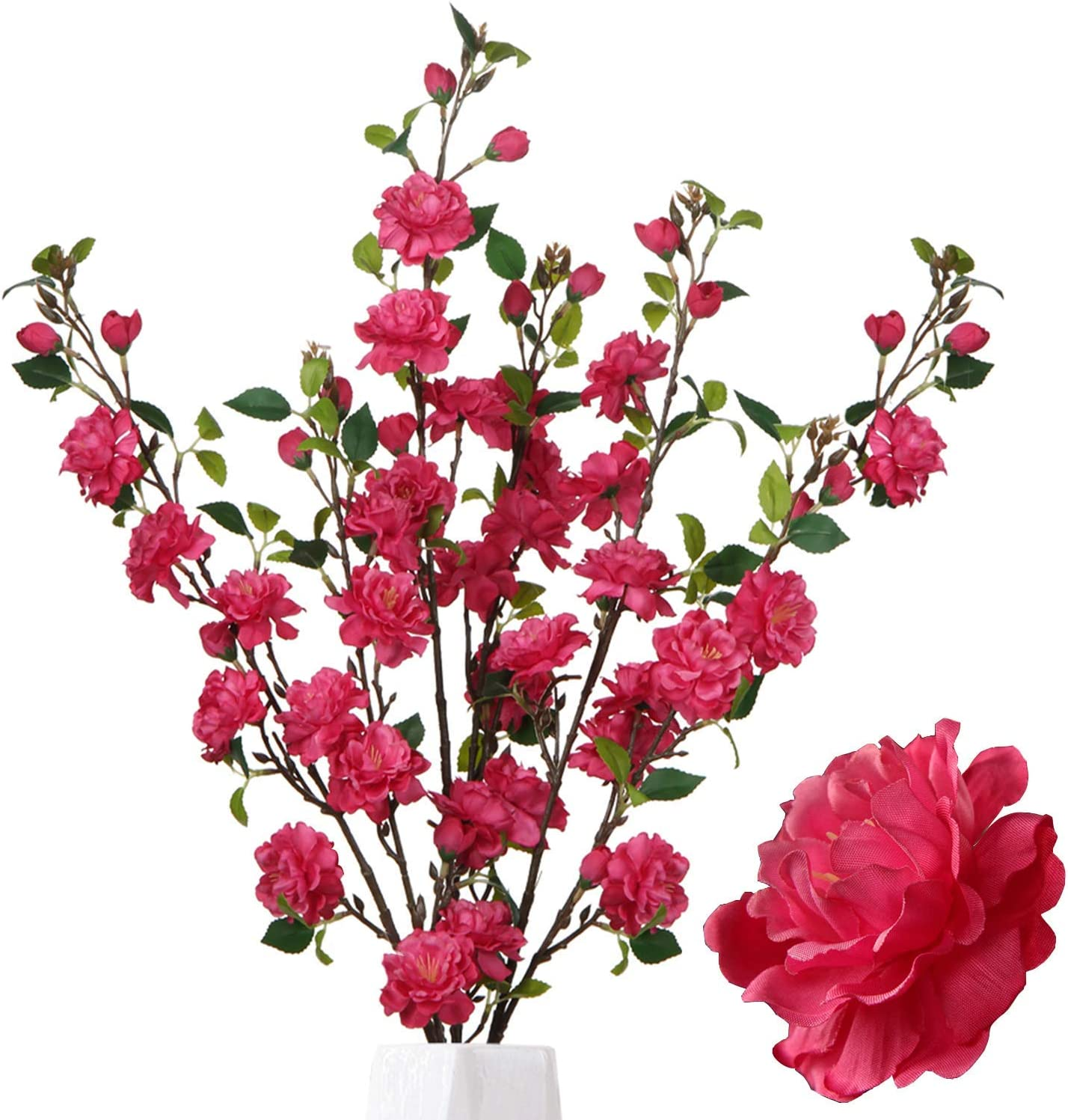 Kesio 3 Pcs Artificial Flowers Silk Peach Blossom Arrangements Fake Plants Flower Branches Apple Blossom Stem 35