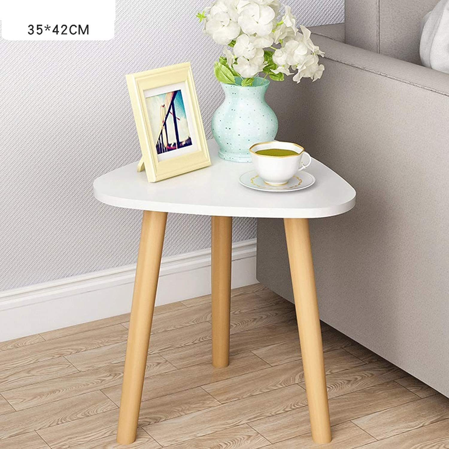 Coffee Table, Triangle Side Table Bedside Table, Sofa Side Table, Simple Corner Side Storage Small Table Solid Wood Table Legs, Multi-Functional Storage Table (color   White, Size   35CM)