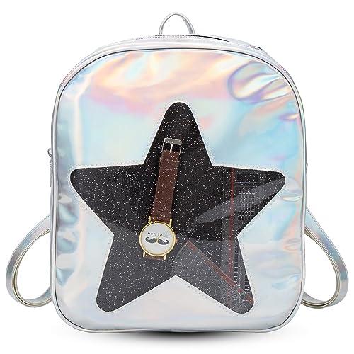 db17264040 xhorizon FL1 Girls Hologram Laser Backpack Love Heart Star Daypack Rucksack  Shoulder Bag (Silvery Star