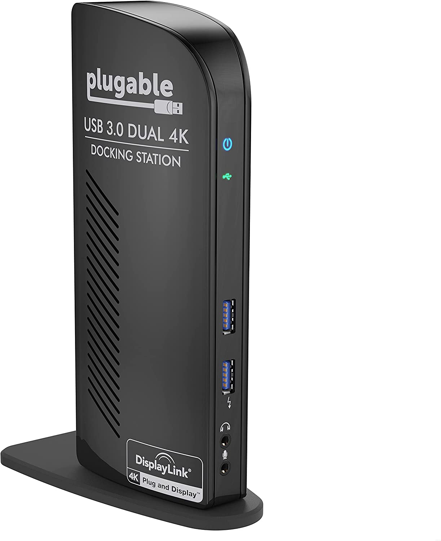 Plugable USB 3.0 Dual DisplayPort 4K Monitor Universal Laptop Docking Station for Windows and Mac (Dual 4K DisplayPort, Gigabit Ethernet, Audio, 6 USB Ports)