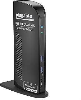 Plugable USB 3.0 Dual DisplayPort 4K Monitor Universal Laptop Docking Station for Windows (Dual 4K DisplayPort Gigabit Eth...