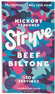 Stryve Biltong, Beef Jerky without the Junky. 16g Protein, Sugar Free, No Carbs, Gluten Free, No Nitrates, No MSG, No Preservatives. Keto and Paleo Friendly. Hickory Seasoned, 10oz
