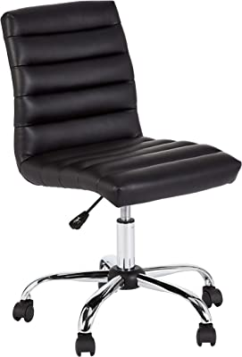 JC Home Waverly Adjustable-Height Mid-Back Swivel Rolling Office Chair, Ink Black