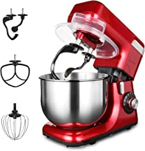 Stand Mixer 8 Speeds 550W Double Hooks 5.5QT LASANTEC Electric Kitchen Mixer Stainless Steel Bowl,Wire Whip,Flat Beater,Po...
