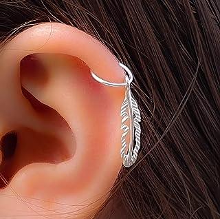 8mm Cartilage Earring Native American Feather Piercing Earring Sterling Silver,Ear ring, Silver Tribal Helix Hoop piercing...