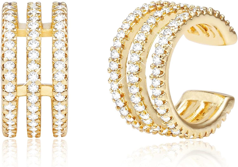 Gold Plated Clip On Cartilage Cuff Earrings for Women | Cubic Zirconia Cuffs Earrings | Non Pierced Earrings