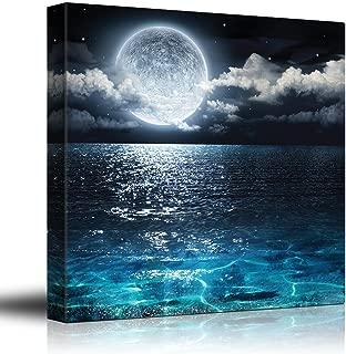 wall26 - Moon Illuminating The Clear Ocean Blue - Canvas Art Wall Decor -24