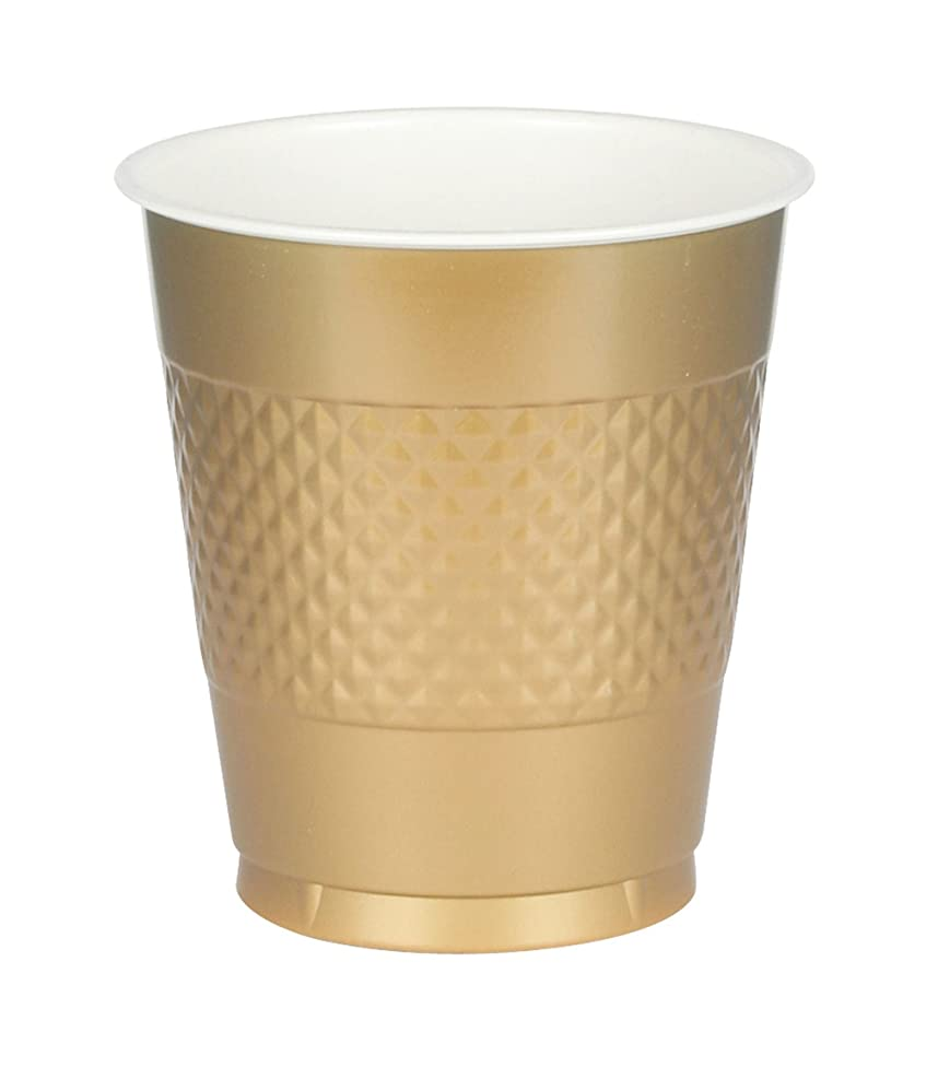 Amscan 43036.19 Party Supplies Gold Sparkle Plastic Cups, 12 Oz, Multi