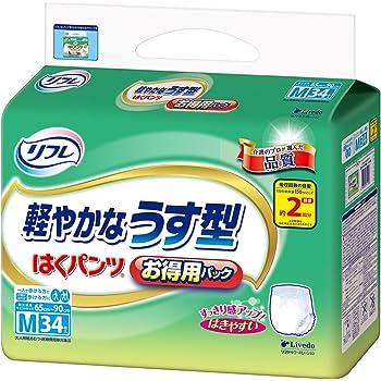 リフレ はくパンツ 軽やかなうす型 2回分吸収 大人 紙おむつ 尿漏れ はきやすい Mサイズ 34枚