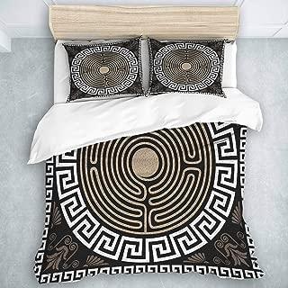 MIGAGA Duvet Cover Set, Greek Key Grecian Fret Wave Pattern Dark Background Antique Retro Swirls, Decorative 3 Piece Bedding Set with 2 Pillow Shams