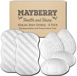 Konjac Body Sponge (6 Pack) Individually Wrapped Multi-Pack Pure (White) Konjac Sponges Offer a Gentle Cleansing Experience for Softer Skin